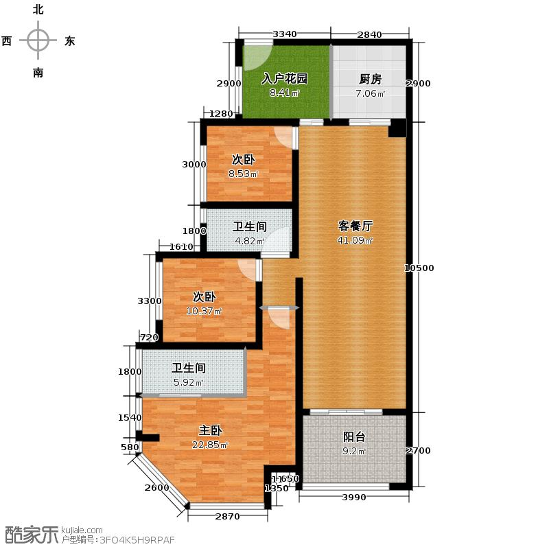 聚丰江山天下116.33㎡7号楼一/二单元2号房户型3室2厅2卫