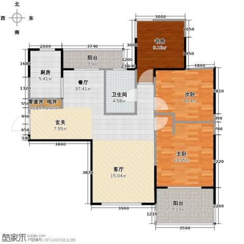 金地中心城3室1厅1卫1厨119.00㎡户型图