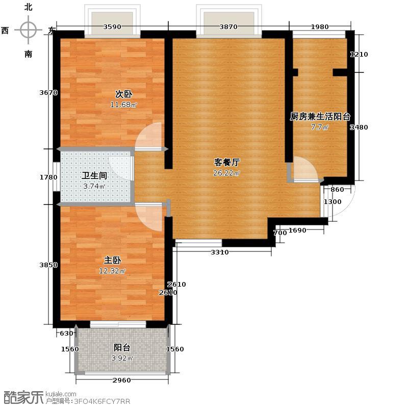 中兴和园89.00㎡2#2单元5#2单元6#2单元7#14单元-01-B5二室户型2室1厅1卫