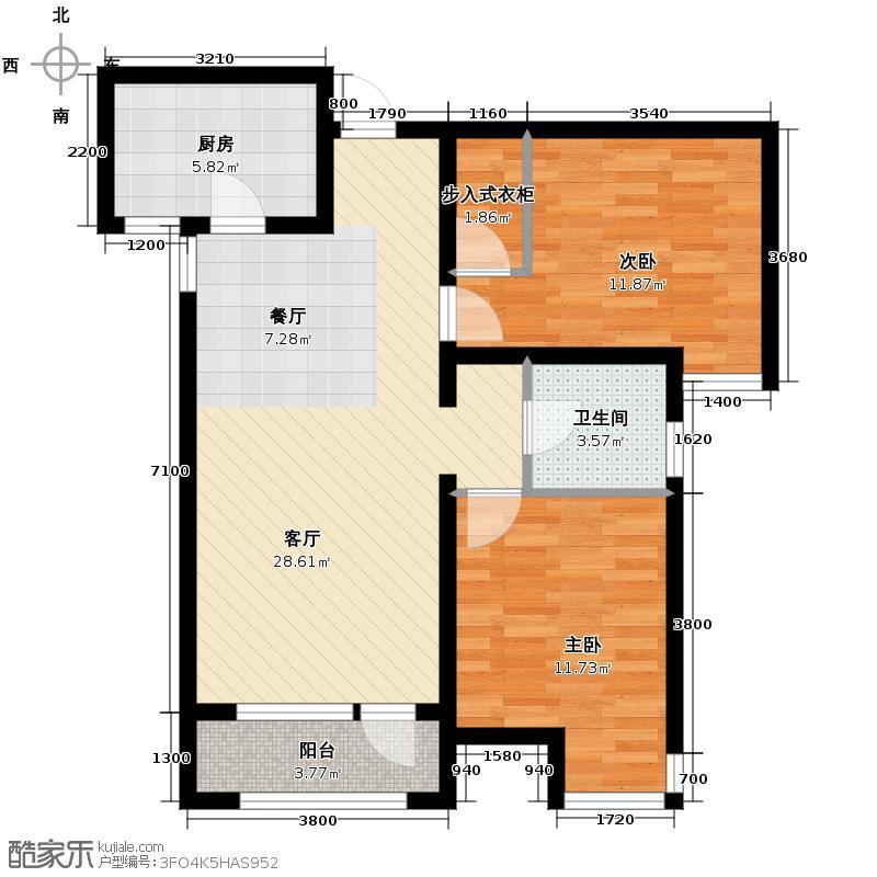保利海棠湾94.00㎡户型2室2厅1卫
