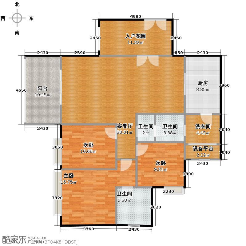 仁和春天国际花园136.84㎡8号楼A3户型3室2厅2卫