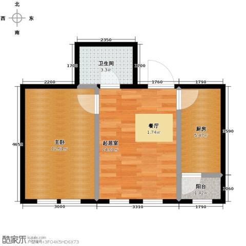 紫金广场1室2厅1卫0厨52.00㎡户型图