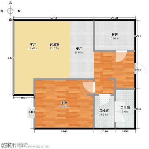 昆仑中心1室2厅1卫0厨80.00㎡户型图