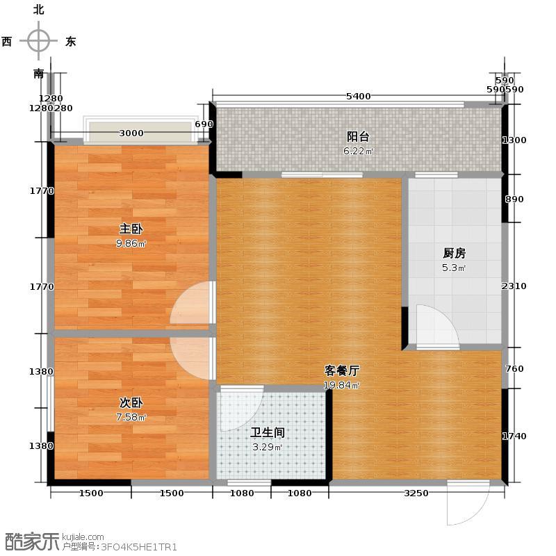 金鹏两江时光56.16㎡1、2、13、14栋A3+阳光飘窗+封闭阳台户型2室1厅1卫1厨
