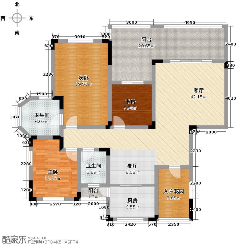 聚义香城雅郡144.01㎡A2/A2\'/双卫带景观平台加入户花园户型3室1厅2卫1厨