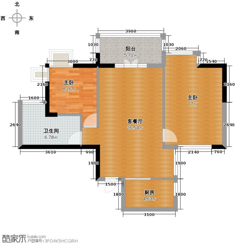 凯乐国际城90.05㎡H3户型2室2厅1卫