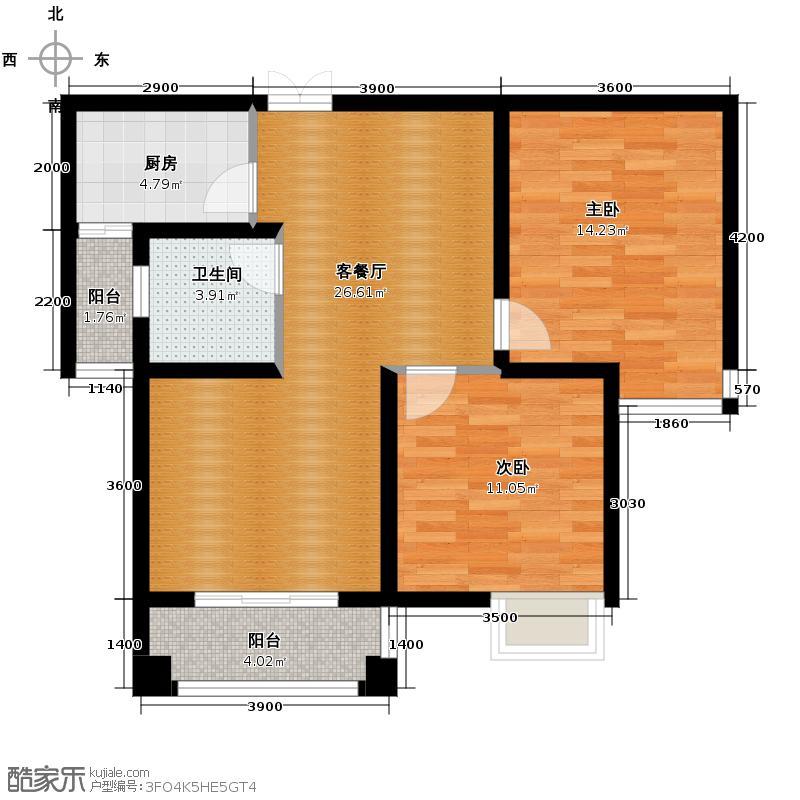 世家水木华麓89.88㎡2/3号栋户型2室2厅1卫