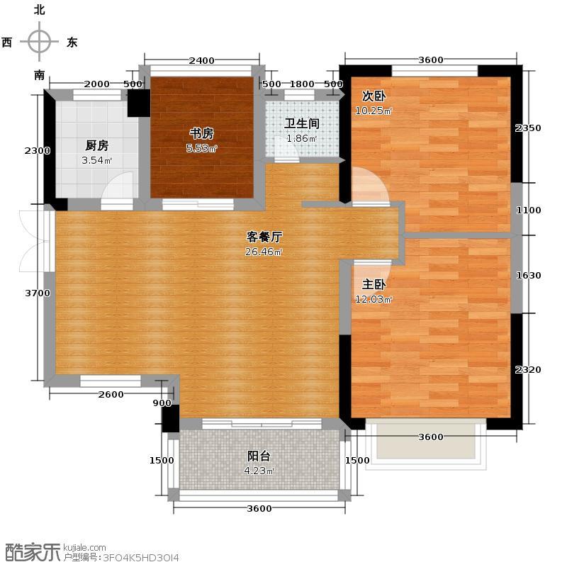 江山帝景91.00㎡户型3室2厅1卫