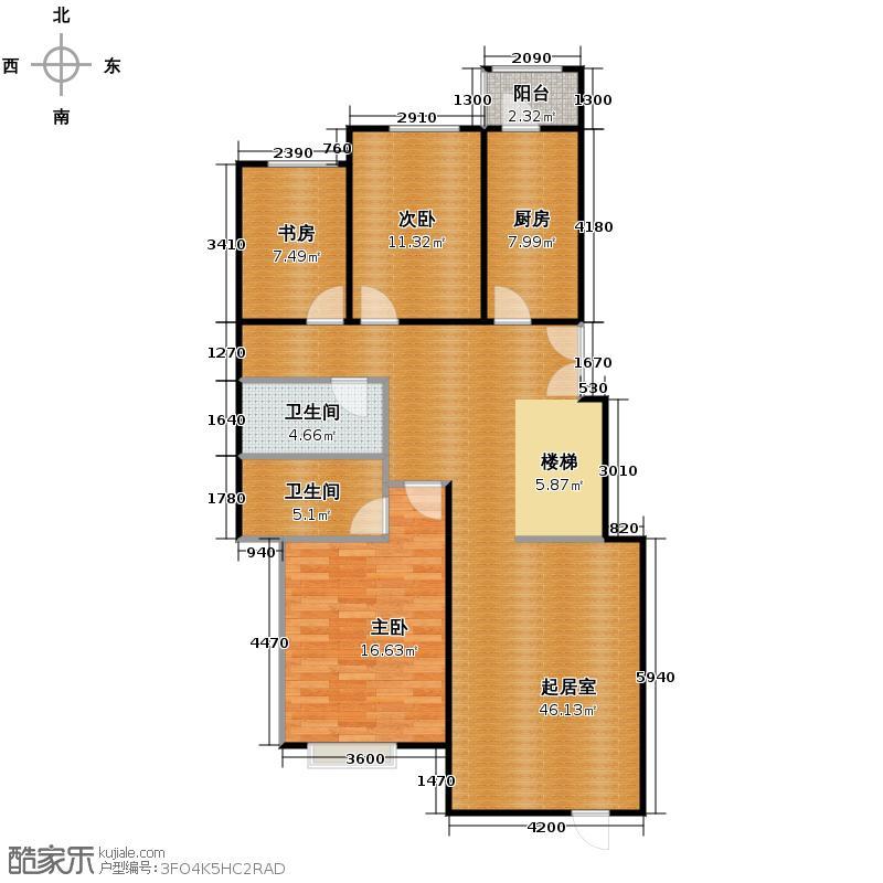 北京奥林匹克花园120.88㎡b2-xy4改2上层户型10室