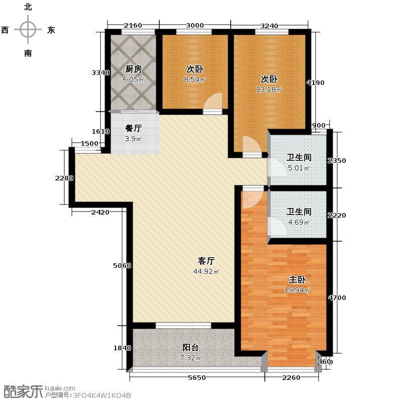 奥兰多小镇131.34㎡户型3室1厅2卫1厨