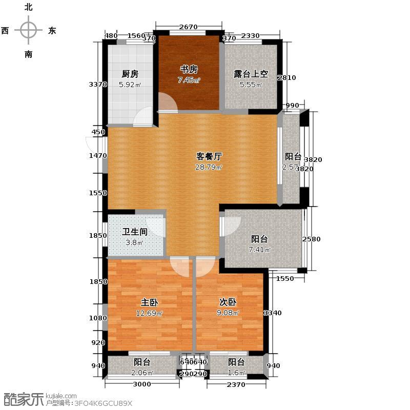 德圣博奥城91.00㎡A5户型3室1厅1卫1厨