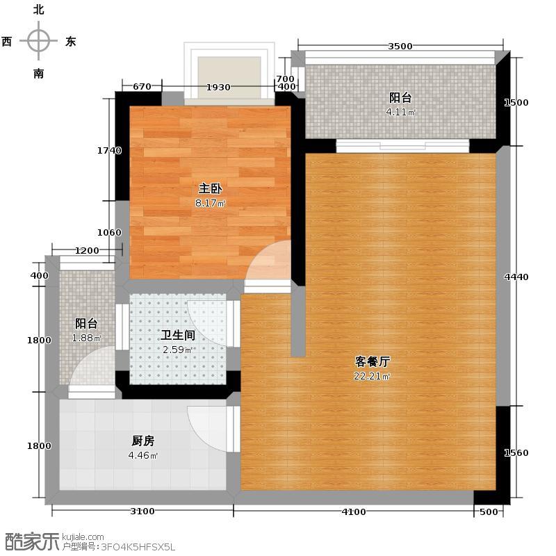芸峰天梭派59.49㎡2期4号楼3/4号楼双阳台户型1室1厅1卫1厨