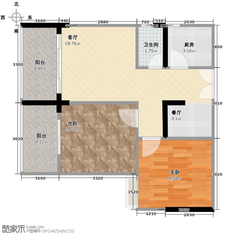 江屿朗廷63.56㎡D1-1户型2室1厅1卫1厨