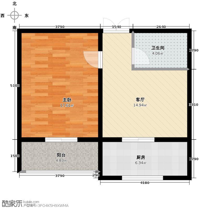 花园南小区二期66.32㎡P5单元03室一室户型1室1厅1卫