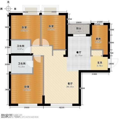 金地中心城1厅2卫1厨133.00㎡户型图