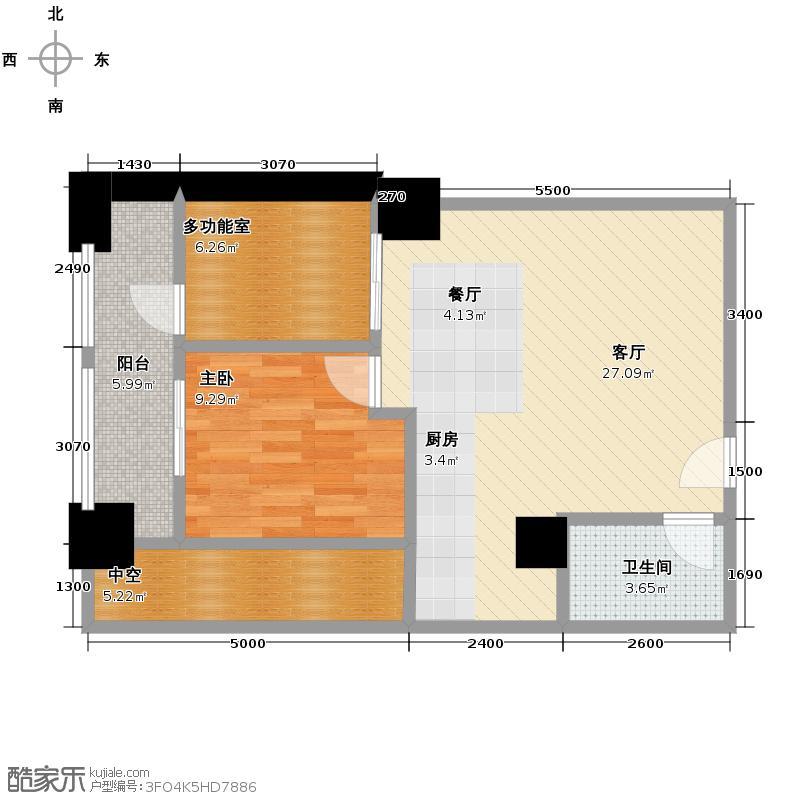 天紫界66.66㎡C型户型1室1厅1卫