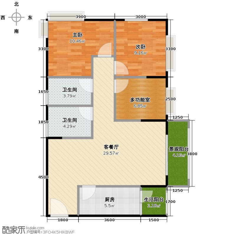时代欣城3.00㎡A3户型2室1厅2卫1厨