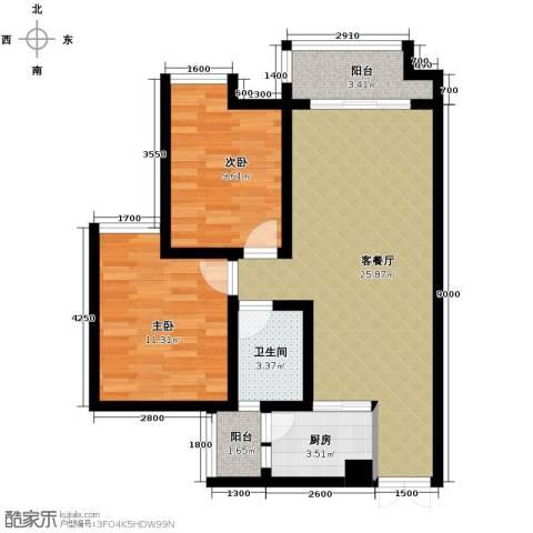 春江花月2室1厅1卫1厨64.00㎡户型图