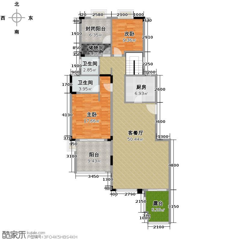中航翡翠城136.00㎡洋房A2带地下室-二层地下室户型2室1厅2卫1厨