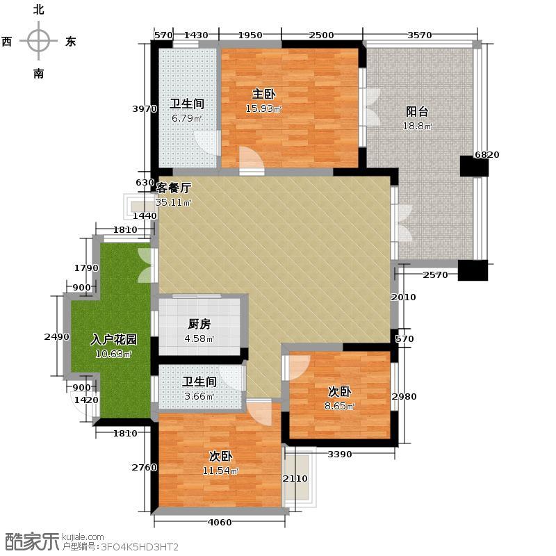 熙望131.03㎡户型3室1厅2卫1厨