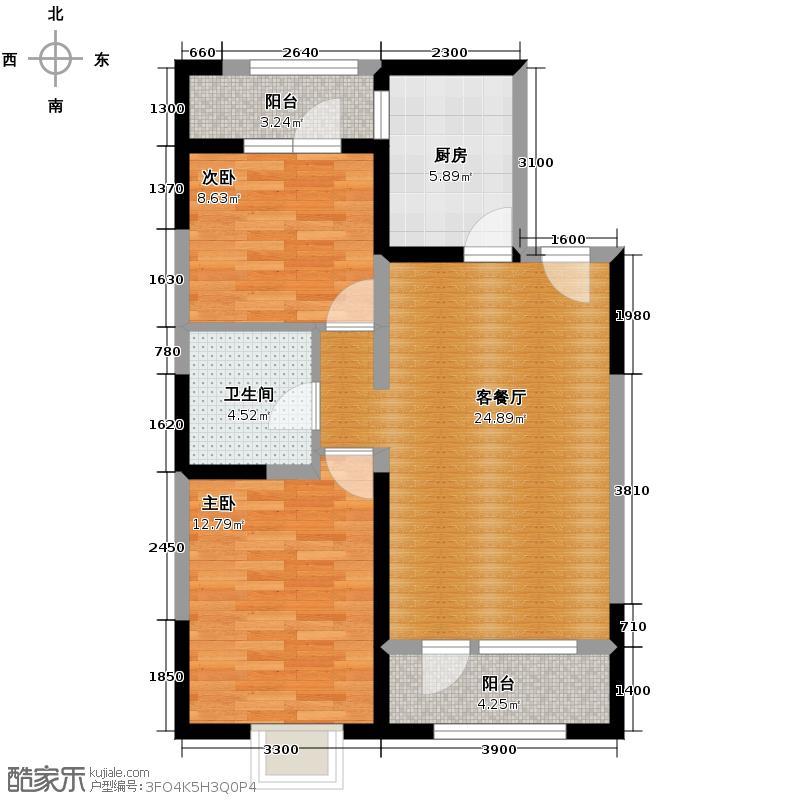 沽上江南74.24㎡高层G\'户型2室2厅1卫