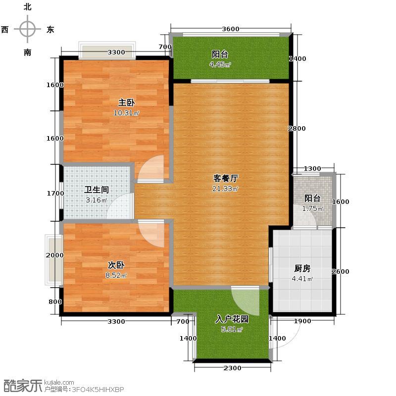 芸峰天梭派58.43㎡7号楼B5栋标准层2号5号房户型2室1厅1卫1厨