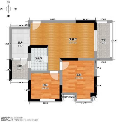 东原亲亲里2室1厅1卫1厨60.00㎡户型图