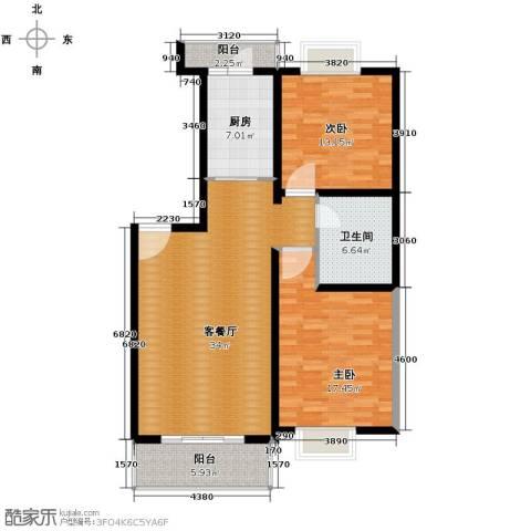 福城阁2室1厅1卫1厨97.47㎡户型图