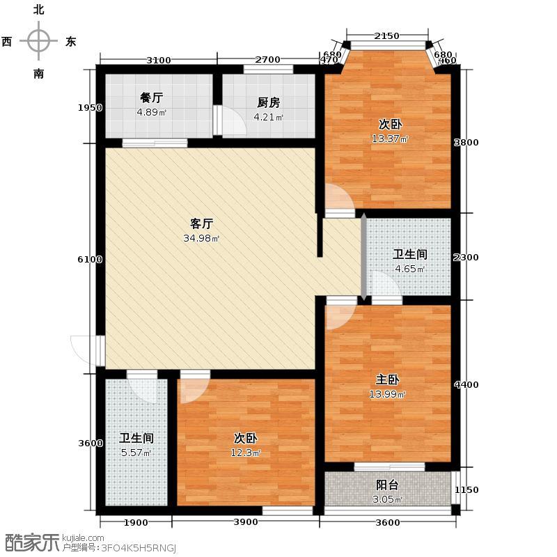 景泰花苑136.56㎡户型3室2厅2卫1厨
