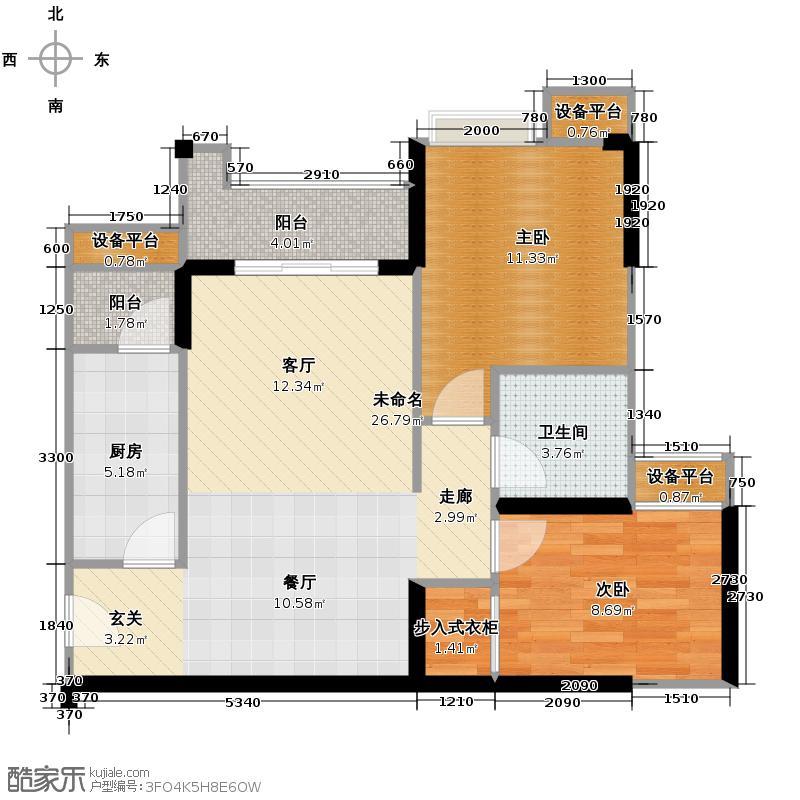 泽科港城国际61.57㎡3栋1/4号房增送户型2室1卫1厨