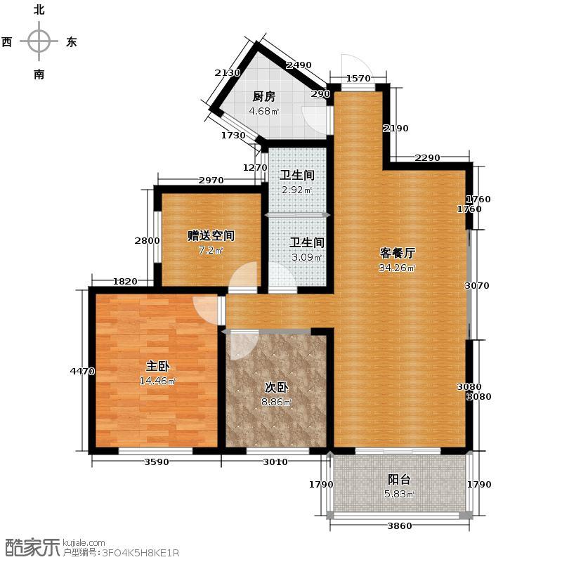 兰乔国际城94.95㎡A户型2室1厅2卫1厨