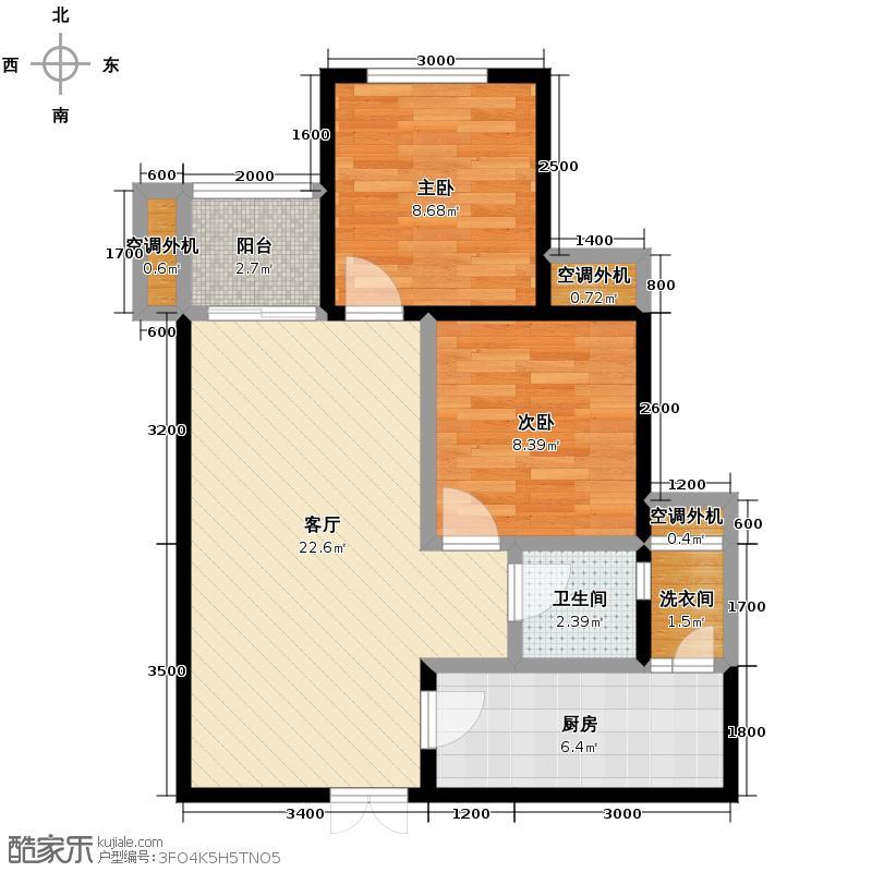 斌鑫中央国际公园57.87㎡一期24-26号楼标准层户型2室2厅1卫