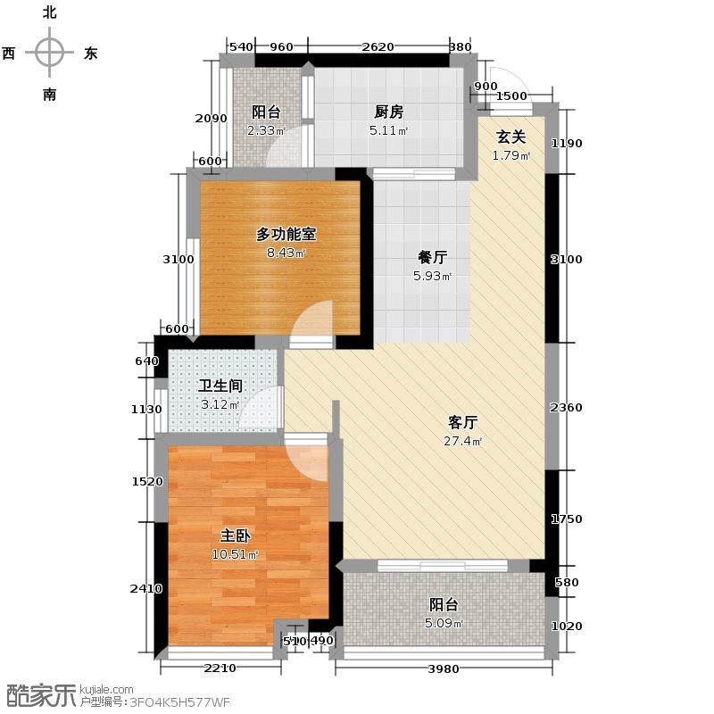 格凌兰73.75㎡4号楼A户型1室1厅1卫