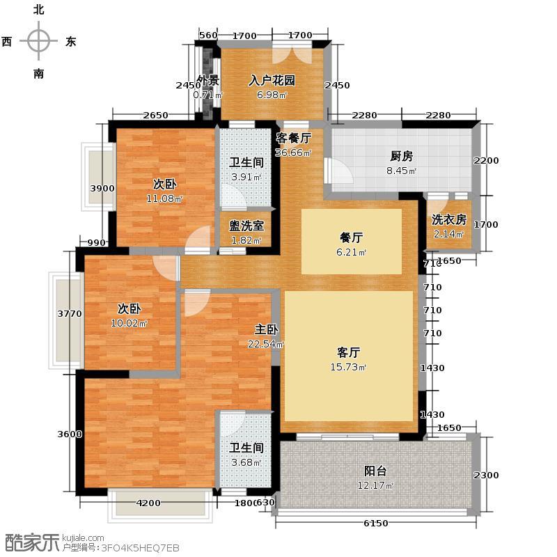 仁和春天国际花园145.45㎡A2双卫户型3室2厅2卫