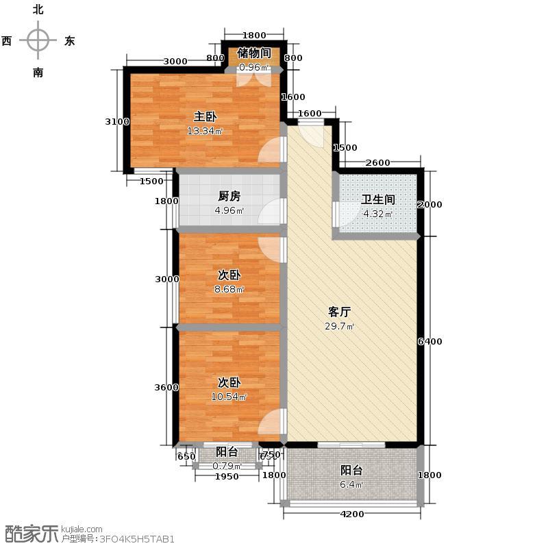 天伦御城龙脉107.14㎡3-05结构紧凑大开间客厅超大落地花园阳台户型10室