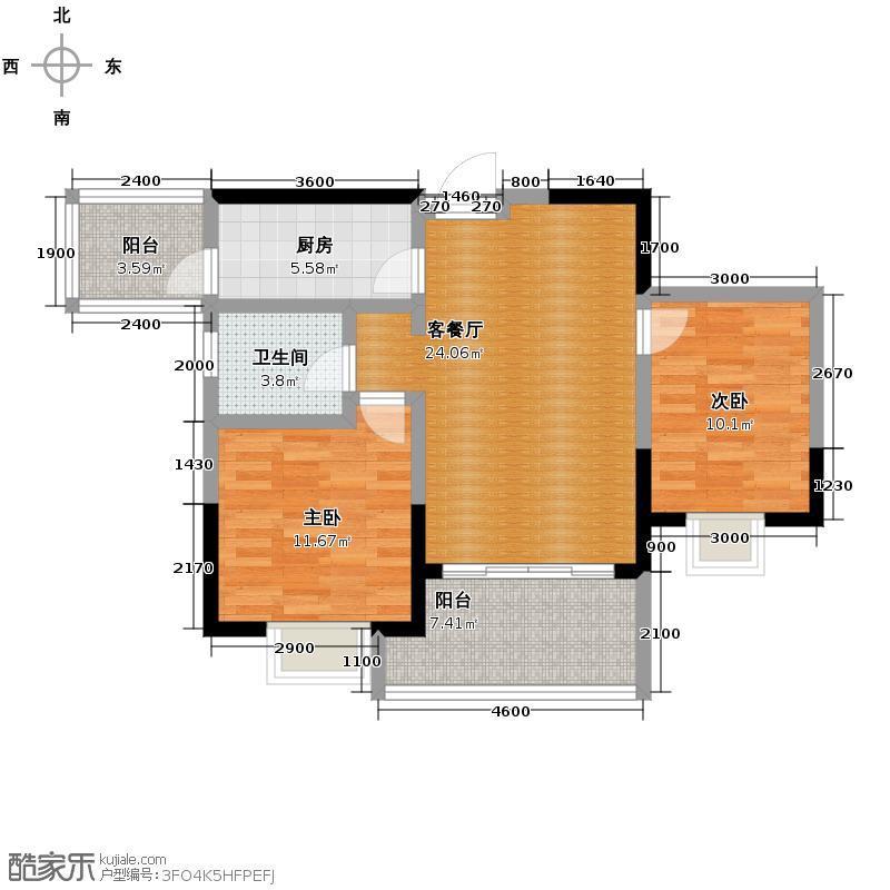朝阳时代西锦82.51㎡A4型9栋奇数层户型10室