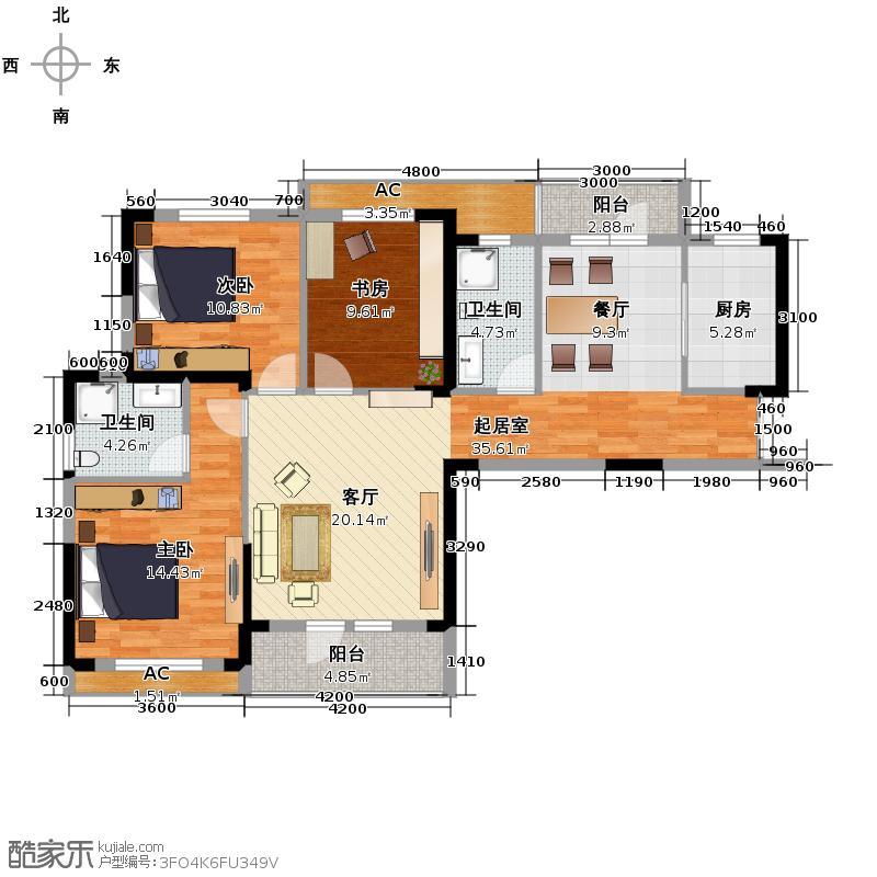 联投广场126.00㎡3#B1户型3室2厅2卫