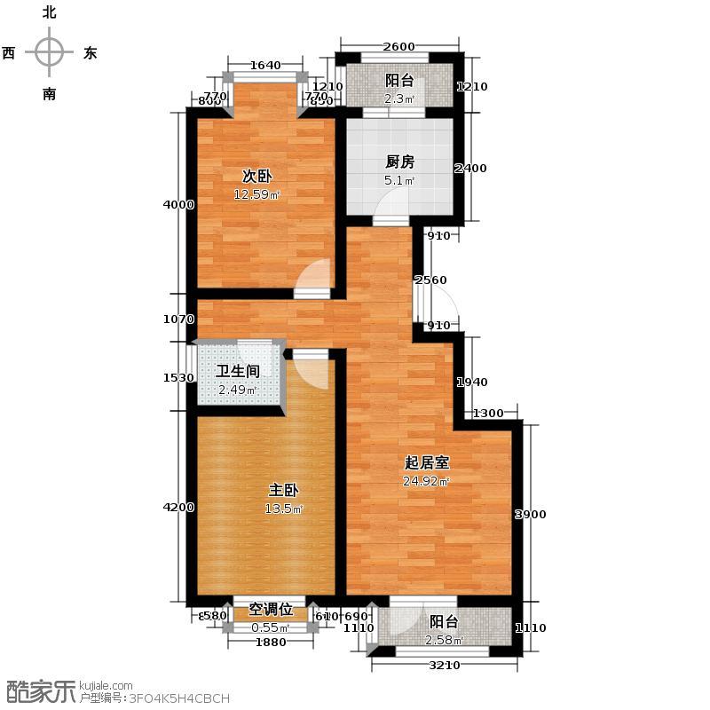 丽江花园87.00㎡M户型2室2厅1卫