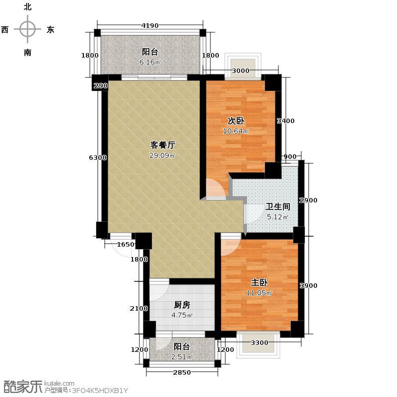 山水四季城91.01㎡20-25号楼A211+1标准层户型2室2厅1卫