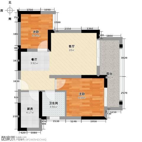 金辉苹果城2室1厅1卫1厨54.00㎡户型图