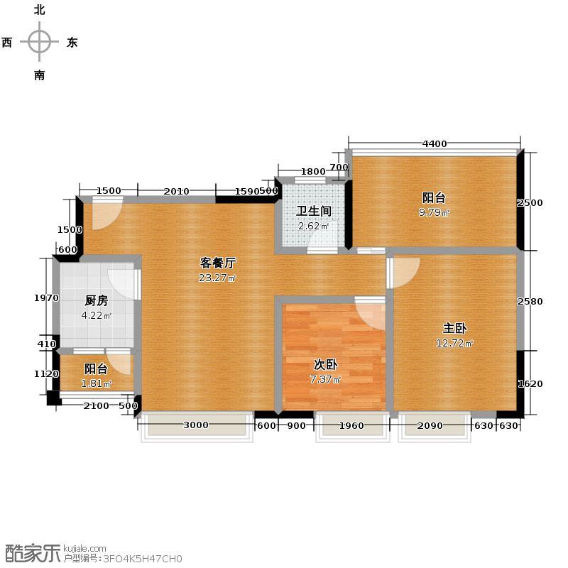 华宇楠苑76.16㎡14栋2-10层1-4号2010年11月在售户型2室1厅1卫1厨