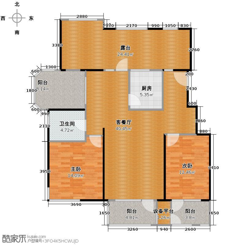 金隅・观澜时代99.00㎡6-7-9号楼-6层E3户型2室2厅1卫