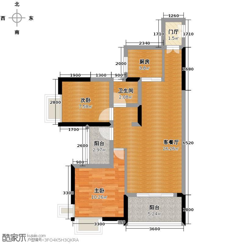 兆麟锦桦豪庭81.00㎡H户型2室2厅1卫