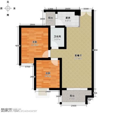 春江花月2室1厅1卫1厨85.00㎡户型图