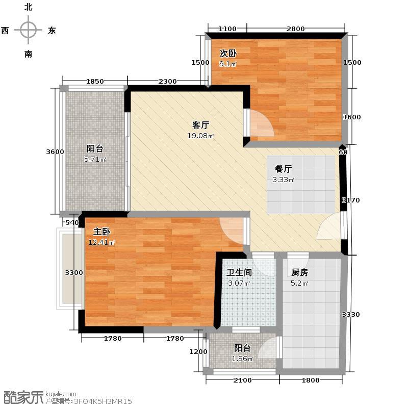 金鹏两江时光59.60㎡5-8号楼标准层C1户型2室1厅1卫1厨
