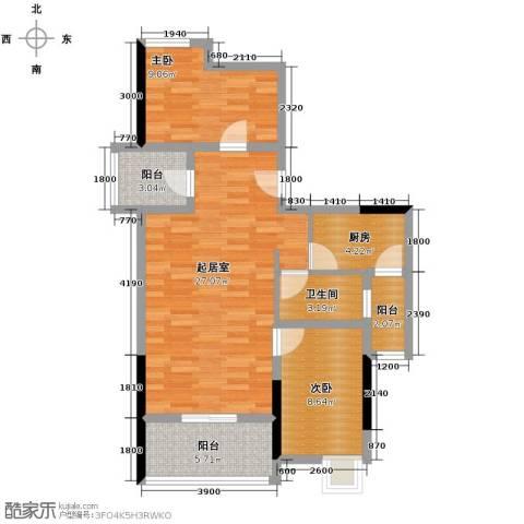 梦泽园美美公馆2室2厅1卫0厨92.00㎡户型图