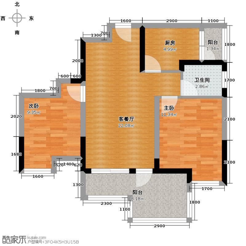 华宇阳光尚座76.00㎡6号楼3单元D3二室户型10室