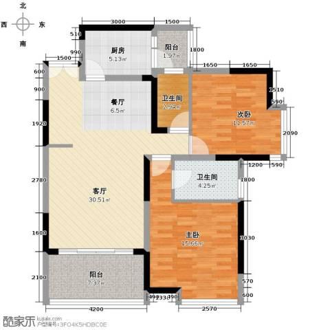 金辉苹果城2室1厅2卫1厨114.00㎡户型图