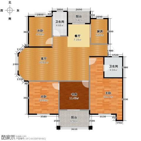 阳光水岸4室1厅2卫1厨165.00㎡户型图