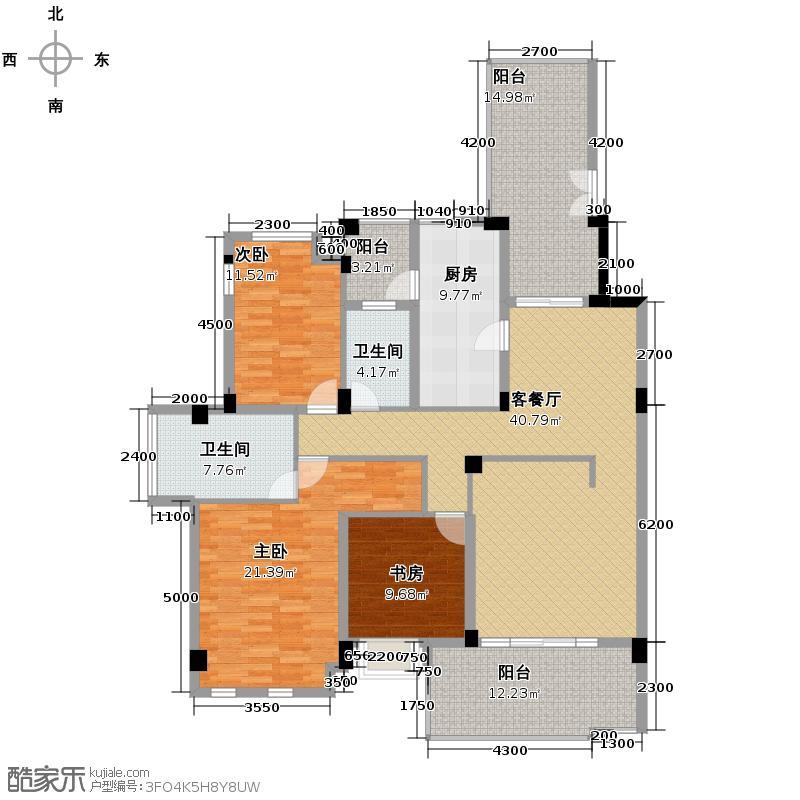 龙城1号142.00㎡A2型偶数层双卫户型3室2厅2卫
